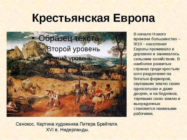 Крестьянская Европа Сенокос. Картина художника Питера Брейгеля. XVI в. Нидерл...