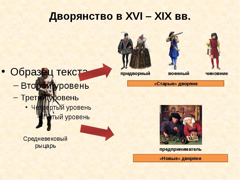 Дворянство в XVI – XIX вв. Средневековый рыцарь придворный военный чиновник «...
