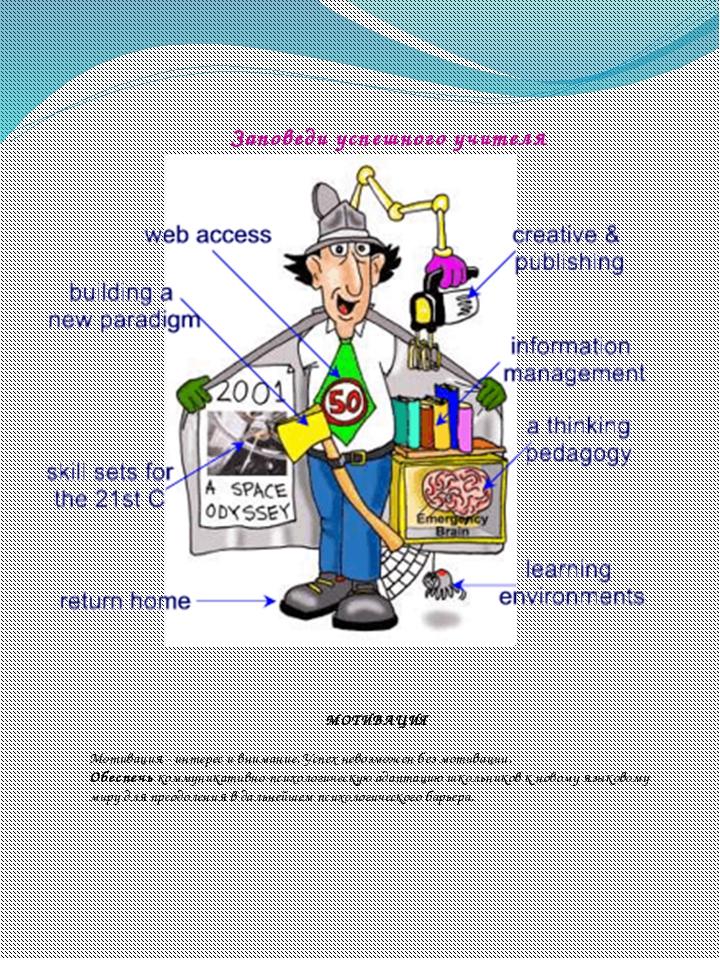 Заповеди успешного учителя МОТИВАЦИЯ  Мотивация - интерес и внимание. Успех...
