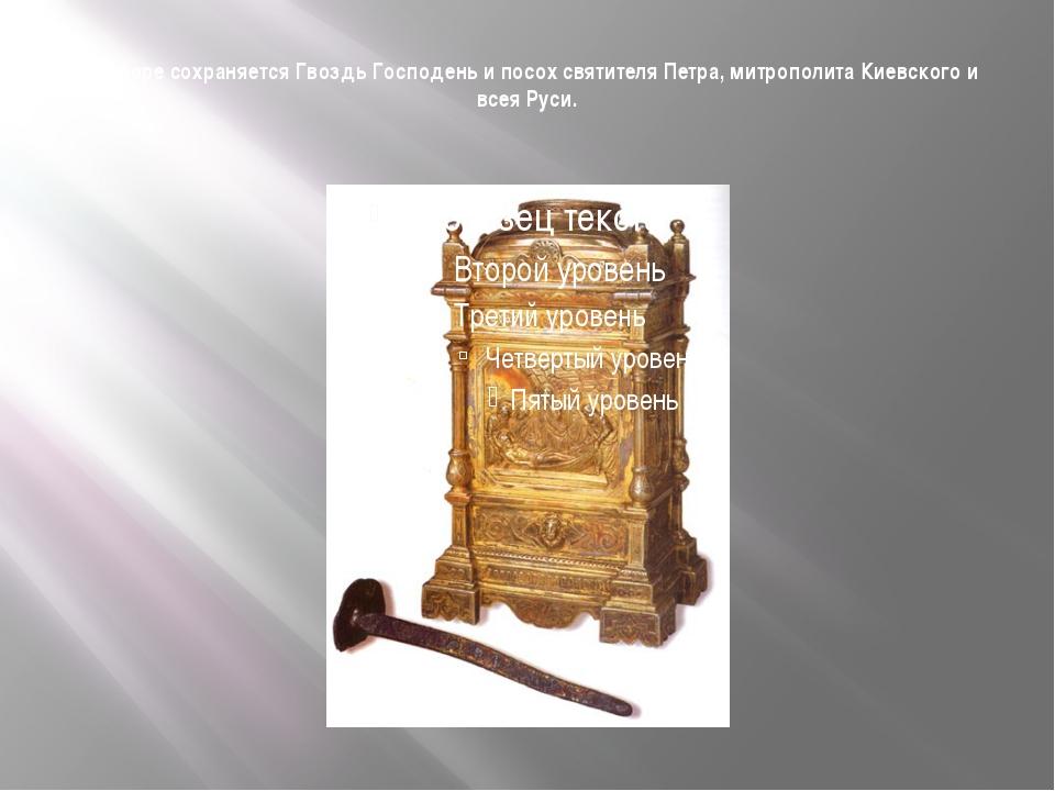 В соборе сохраняется Гвоздь Господень и посох святителя Петра, митрополита Ки...