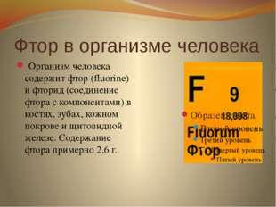 Фтор в организме человека Организм человека содержит фтор (fluorine) и фторид