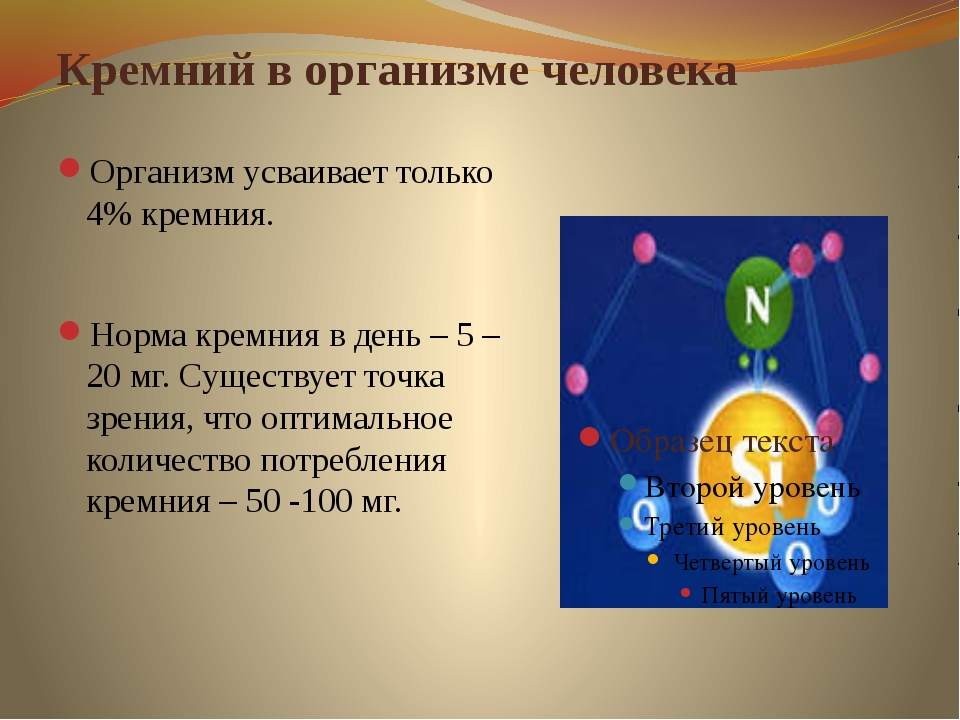 Кремний в организме человека Организм усваивает только 4% кремния.  Норма кр...