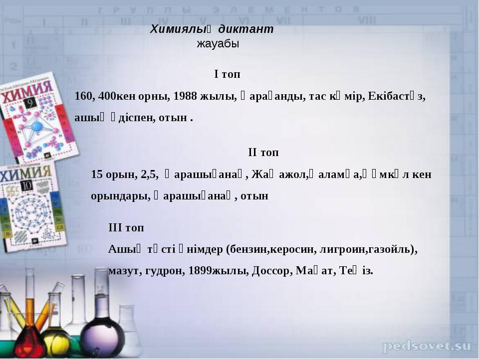 Химиялық диктант жауабы І топ 160, 400кен орны, 1988 жылы, Қарағанды, тас кө...