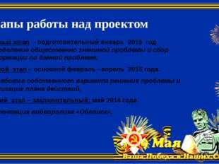 Этапы работы над проектом Первый этап - подготовительный январь 2015 год. Опр