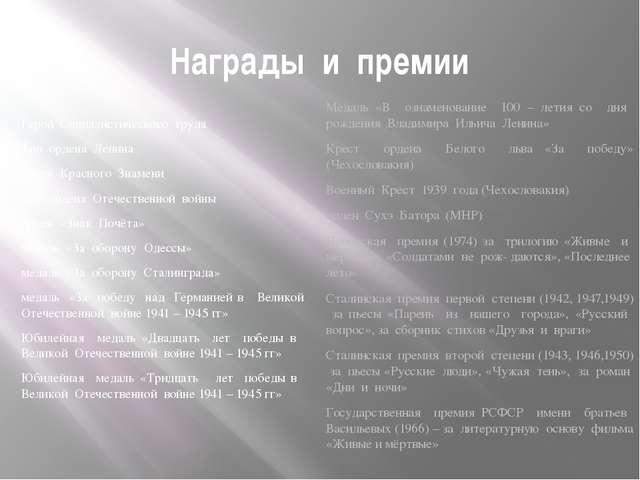 Награды и премии Герой Социалистического труда Три ордена Ленина орден Красно...