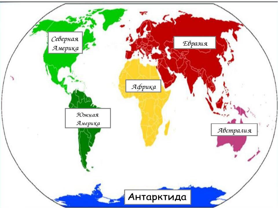 Евразия Южная Америка Австралия Африка Северная Америка