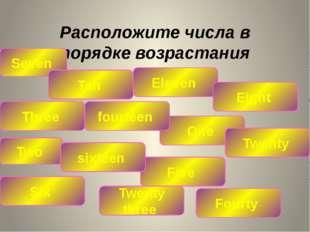 Расположите числа в порядке возрастания Seven Ten Eleven Three Five Eight Two