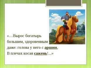 «…Вырос богатырь большим, здоровенным даже: голова у него с аршин, В плечах к