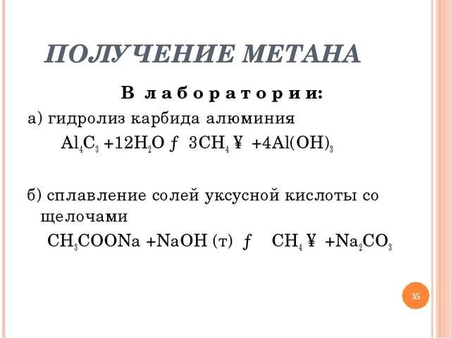 ПОЛУЧЕНИЕ МЕТАНА В л а б о р а т о р и и: а) гидролиз карбида алюминия Al4C3...