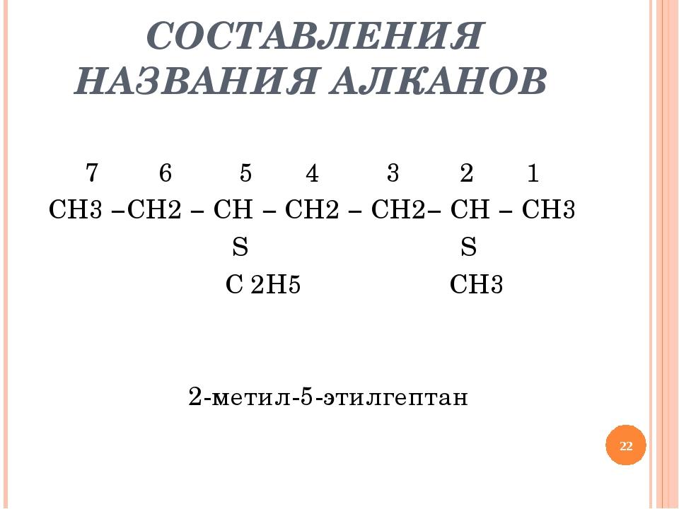 СОСТАВЛЕНИЯ НАЗВАНИЯ АЛКАНОВ 7 6 5 4 3 2 1 CH3 −CH2 − CH − CH2 − CH2− CH − C...