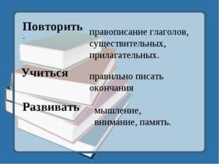 Повторить - Учиться Развивать правописание глаголов, существительных, прилага