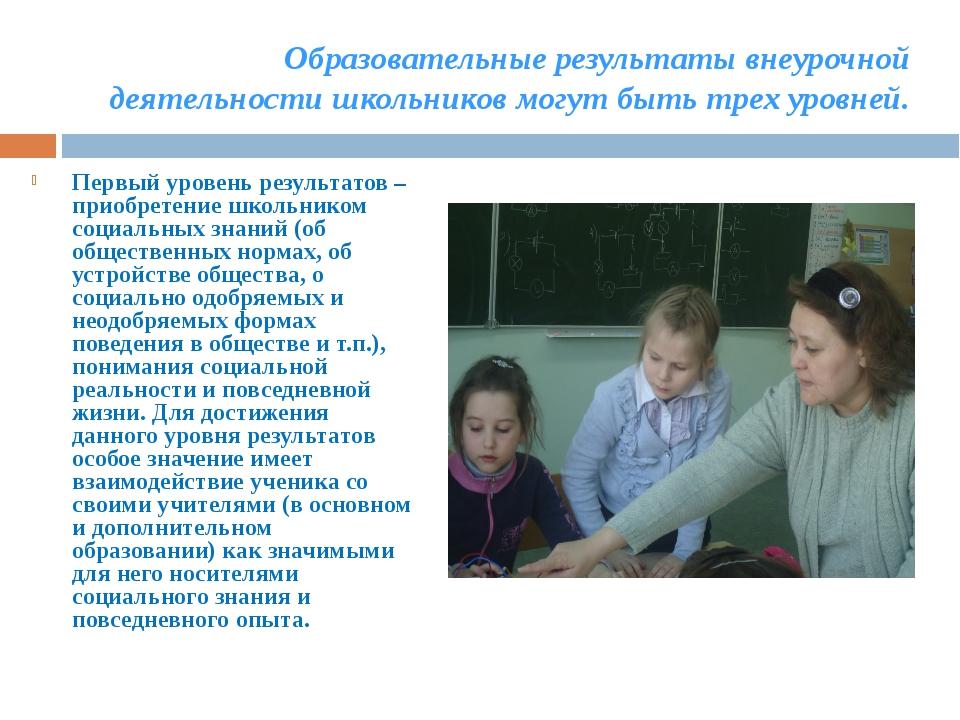 Образовательные результаты внеурочной деятельности школьников могут быть трех...