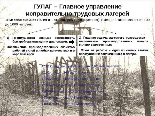 ГУЛАГ – Главное управление исправительно-трудовых лагерей «Низовая ячейка» ГУ...