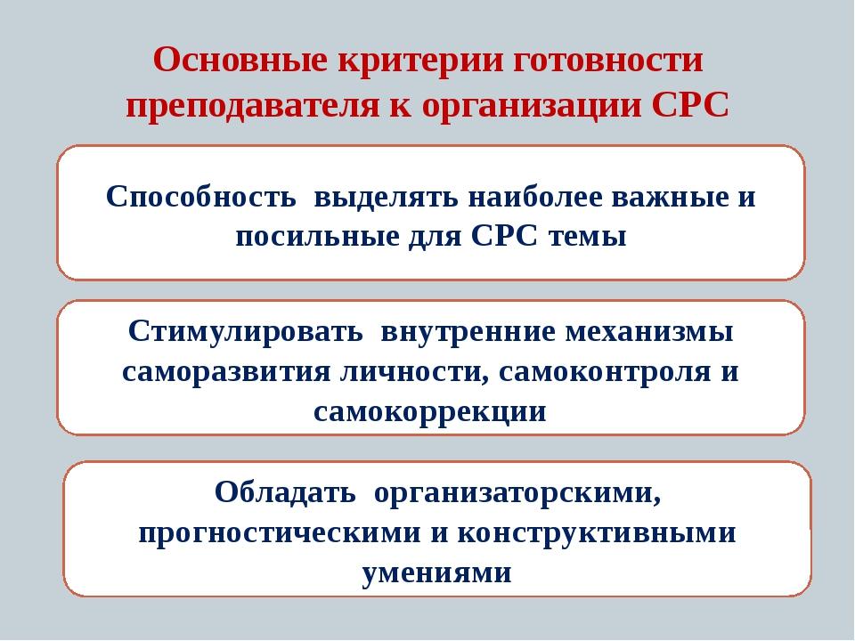 Основные критерии готовности преподавателя к организации СРС Способность выде...