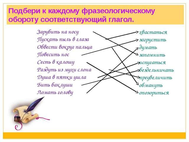 Подбери к каждому фразеологическому обороту соответствующий глагол. Зарубить...