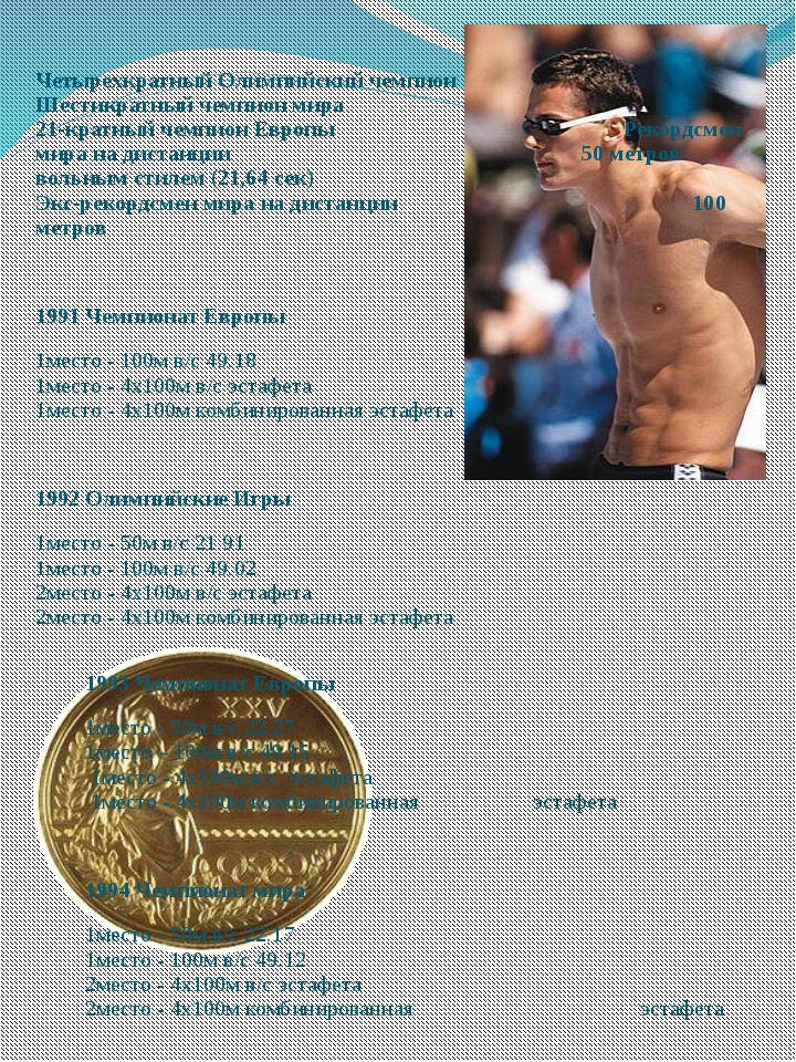 Четырехкратный Олимпийский чемпион Шестикратный чемпион мира 21-кратный чемпи...