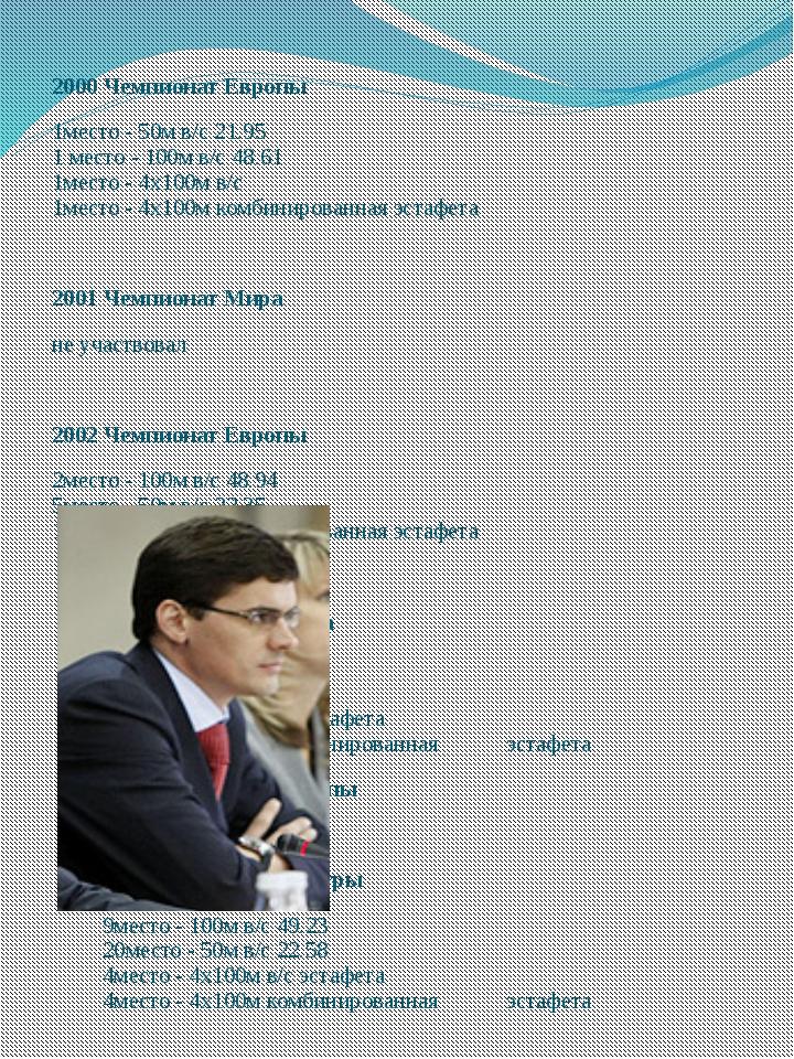 2000 Чемпионат Европы 1место - 50м в/с 21.95 1 место - 100м в/с 48.61 1место...