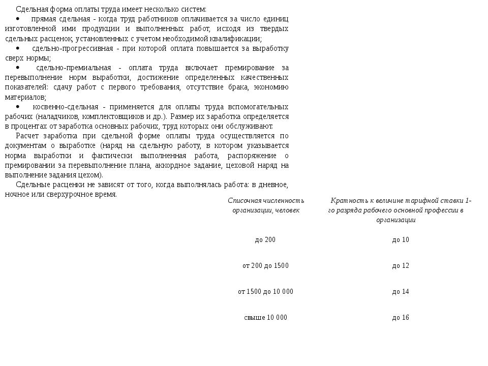 Сдельная форма оплаты труда имеет несколько систем: · прямая сдельная...