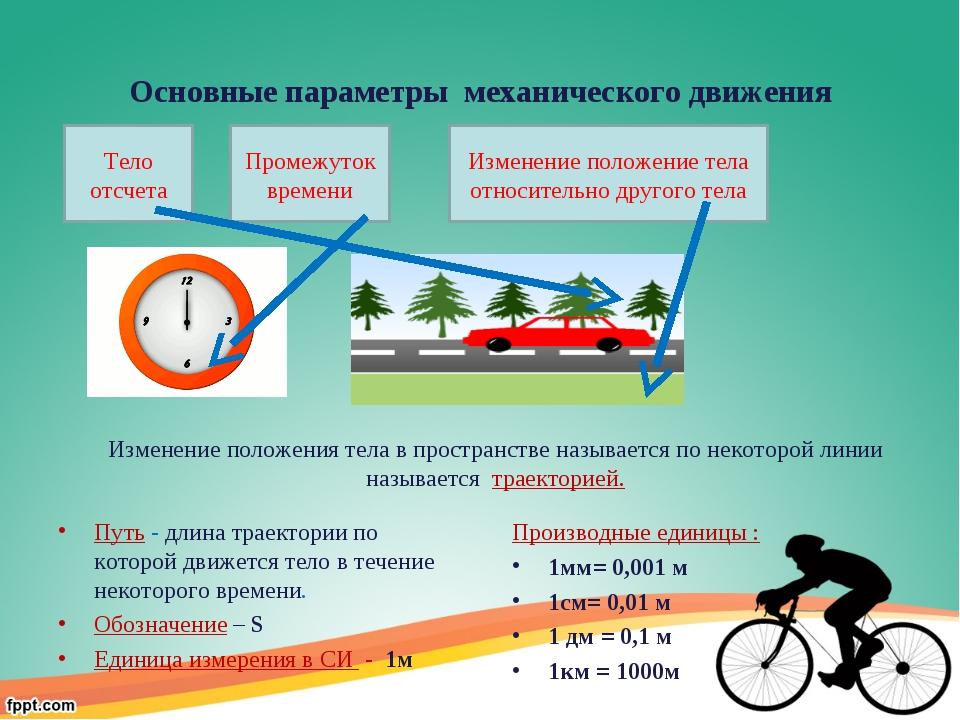 Основные параметры механического движения Путь - длина траектории по которой...