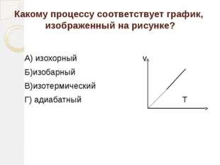 Какому процессу соответствует график, изображенный на рисунке? А) изохорный v