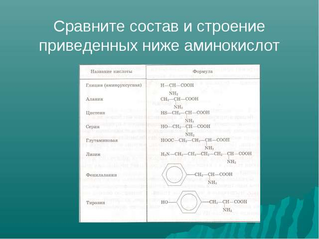 Сравните состав и строение приведенных ниже аминокислот
