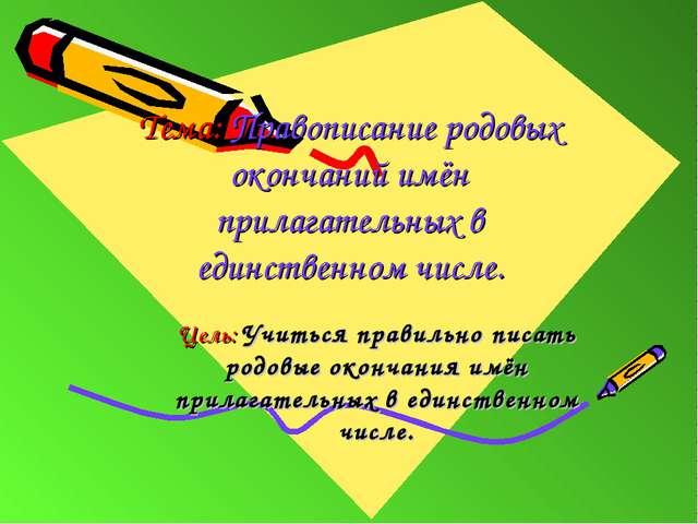 Тема: Правописание родовых окончаний имён прилагательных в единственном числе...