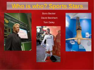 Boris Becker  David Beckham Tom Daley Who is who? Sports Stars