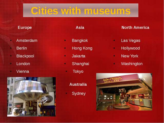 Cities with museums Europe Asia North America Amsterdam Berlin Blackpool Lond...