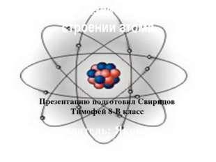 История развития знаний о строении атома Презентацию подготовил Свиридов Тимо