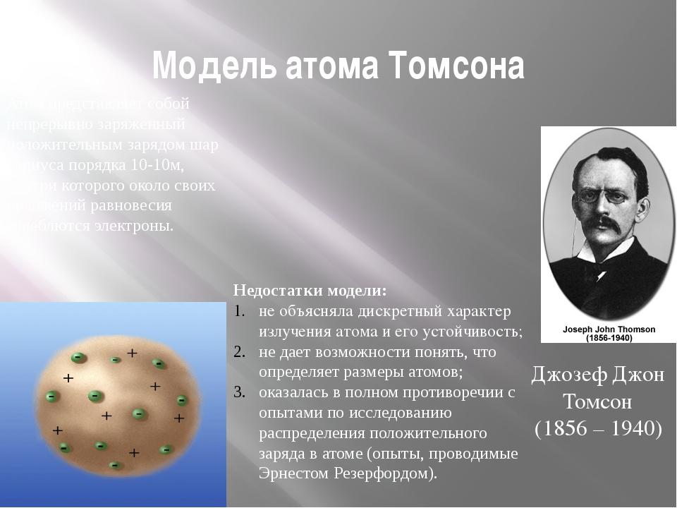 Модель атома Томсона Атом представляет собой непрерывно заряженный положитель...