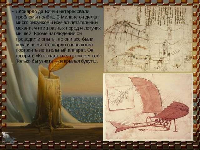 Леонардо да Винчи интересовали проблемы полёта. В Милане он делал много рису...
