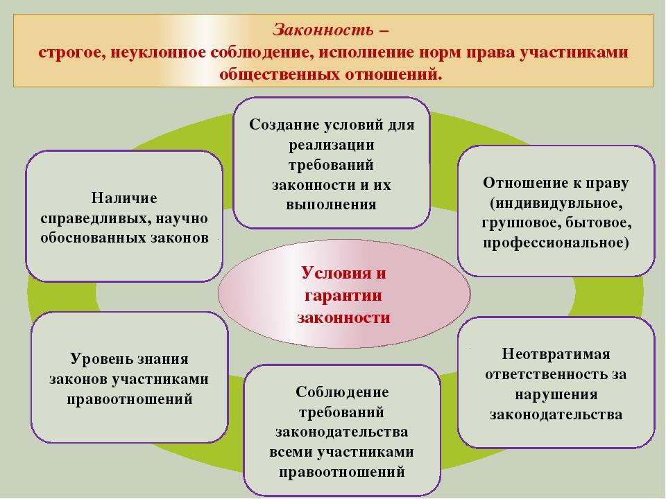 Условия и гарантии законности Наличие справедливых, научно обоснованных зако...