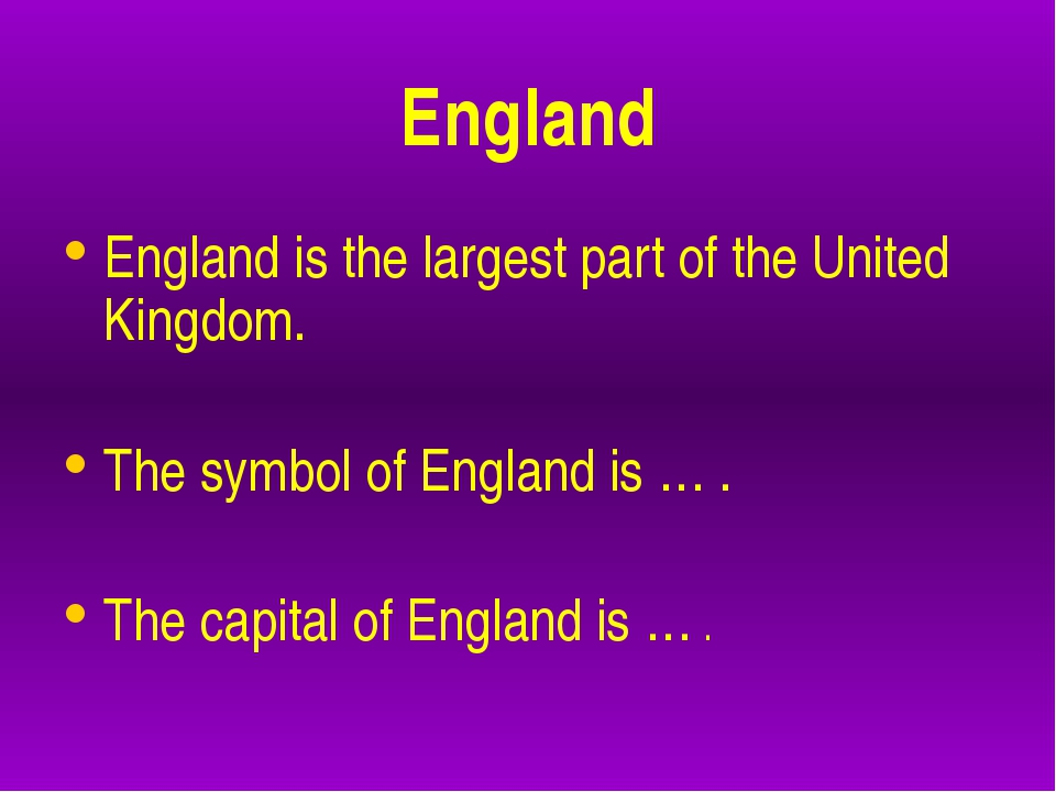 England England is the largest part of the United Kingdom. The symbol of Eng...