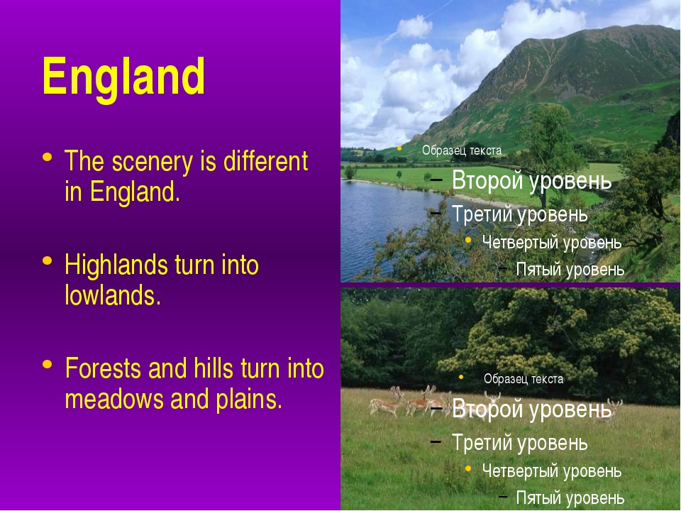 England The scenery is different in England. Highlands turn into lowlands. F...