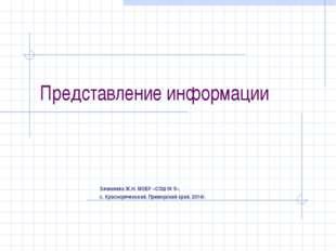 Представление информации Зачиняева Ж.Н. МОБУ «СОШ № 5», с. Краснореченский, П