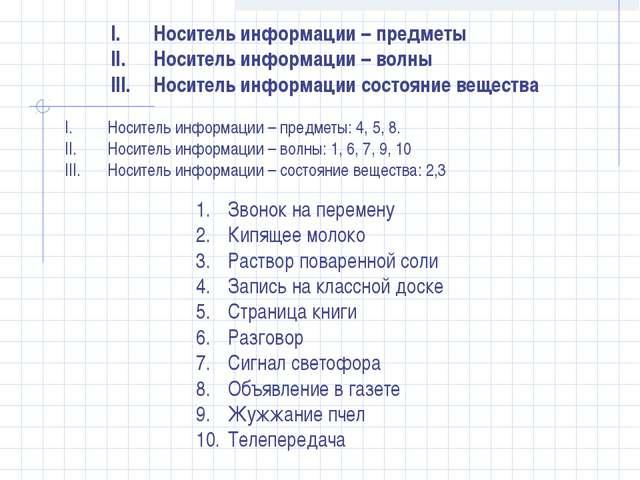 Звонок на перемену Кипящее молоко Раствор поваренной соли Запись на классной...