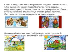 Сказка «Снегурочка», действие происходит в деревне, слепили из снега бабка и