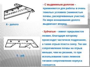 - С выдвижным долотом – применяются для работы в очень тяжелых условиях (каме