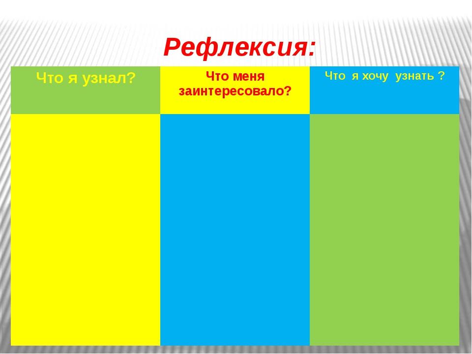 Рефлексия: Что я узнал? Что менязаинтересовало? Что я хочу узнать ?