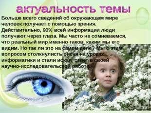 Больше всего сведений об окружающем мире человек получает с помощью зрения. Д