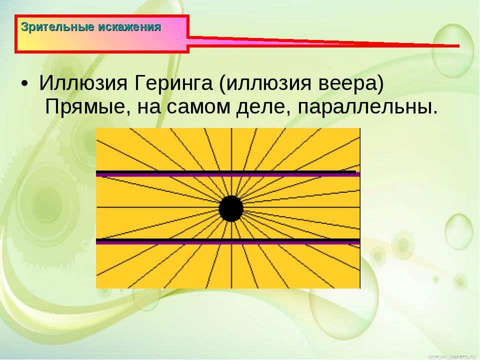 Зрительные искажения Иллюзия Геринга (иллюзия веера) Прямые, на самом деле, п...