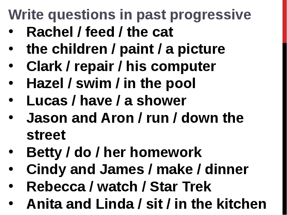 Write questions in past progressive Rachel / feed / the cat  the children / p...