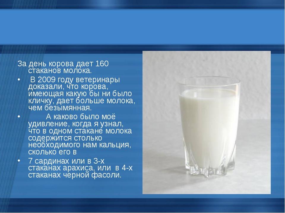 За день корова дает 160 стаканов молока. В 2009 году ветеринары доказали,...
