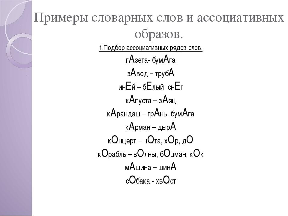 Примеры словарных слов и ассоциативных образов. 1.Подбор ассоциативных рядов...