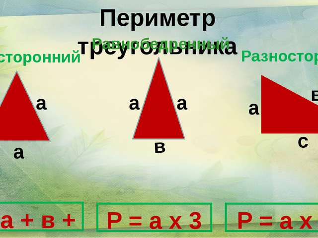 Периметр треугольника P = a + в + c с Равносторонний в P = a х 2 + в P = a х...