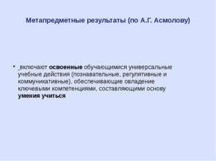 Метапредметные результаты (по А.Г. Асмолову) включаютосвоенные обучающимися