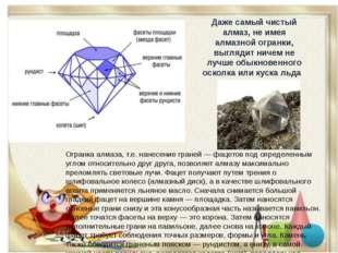 Огранка алмаза, т.е. нанесение граней — фацетов под определенным углом относи