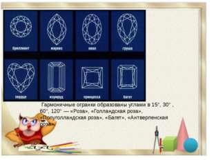 Гармоничные огранки образованы углами в 15°, 30° , 60°, 120° — «Роза», «Голл