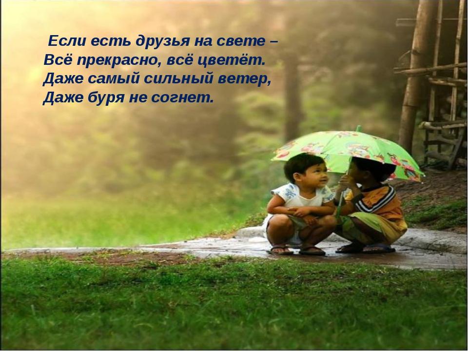 Если есть друзья на свете – Всё прекрасно, всё цветёт. Даже самый сильный ве...