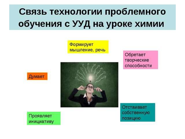 Связь технологии проблемного обучения с УУД на уроке химии Думает Формирует м...